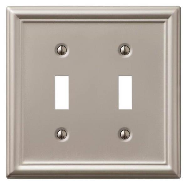 Amerelle Chelsea 2-Toggle Wall Plate, 2 Gang, 4-7/8 in L X 4-15/16 in W, Brushed Nickel