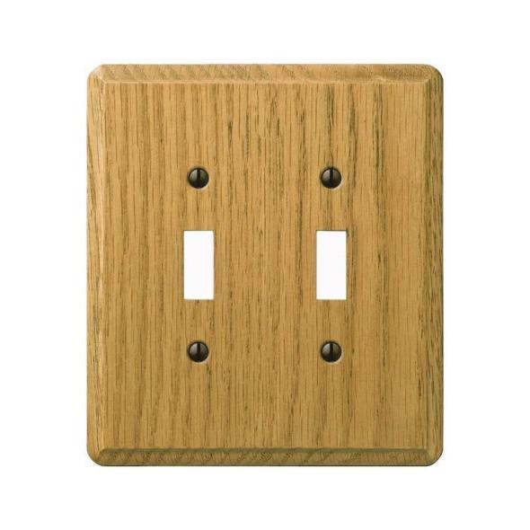 Amerelle Contemporary 2-Toggle Wall Plate, 2 Gang, 5-3/8 in L X 5-7/8 in W, Light