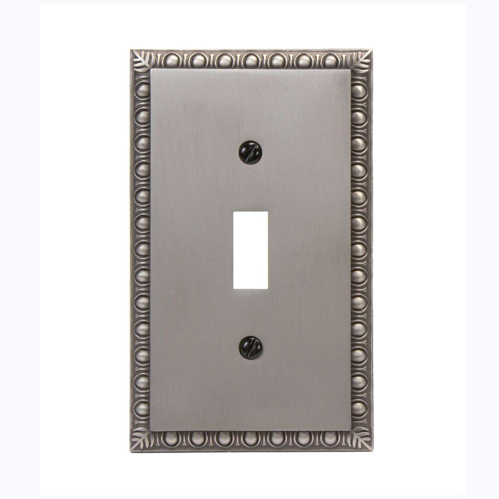 Amerelle Renaissance 1-Toggle Wall Plate, 1 Gang, 4-15/16 in L X 3 in W, Antique Nickel