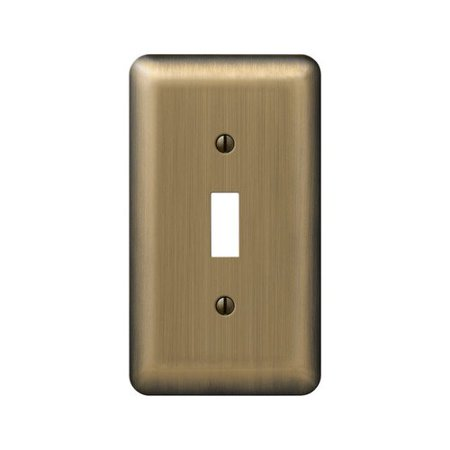Amerelle Devon 1-Toggle Round Corner Wall Plate, 1 Gang, 5 in L X 2-13/16 in W, Brushed Brass