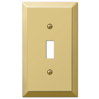 163TBR Square Corner Traditional Wall Plate, 1 Gang 5 in L x 2-7/8 in W x 1/4 in D, Polished Brass