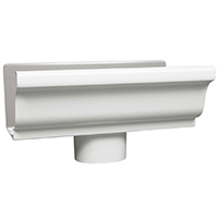 GUTTER END 3X4IN WHT W/OUTLET