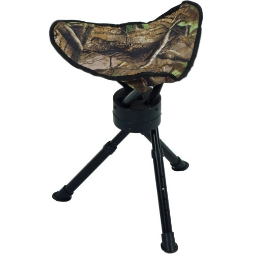 Ameristep 3RG1A015 Tripod Swivel Stool, 16 - 19 in Adjustable Leg H, Fabric, Powder-Coated, Green Camo