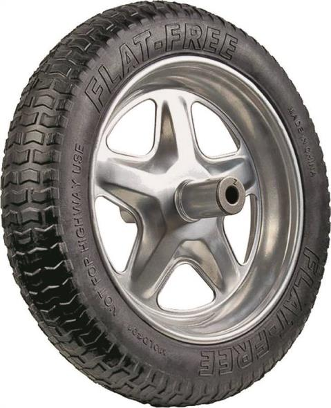 Ames SFFTCC Flat Free Replacement Spoked Wheelbarrow Tire, 16 in, Rubber Clad