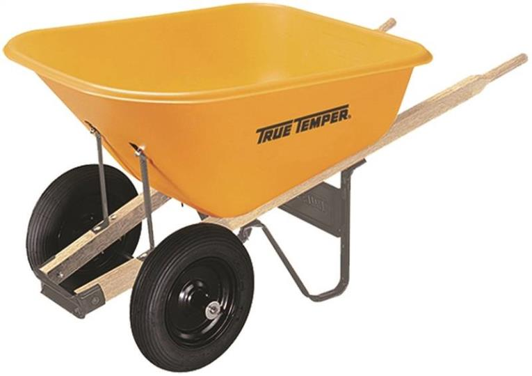 Ames 009908VB Wheelbarrows, Poly, 8 Cu Ft, Dual Tires