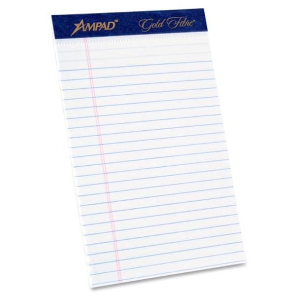 Gold Fibre Writing Pads, Jr. Legal Rule, 5 x 8, White, 50 Sheets, 4/Pack