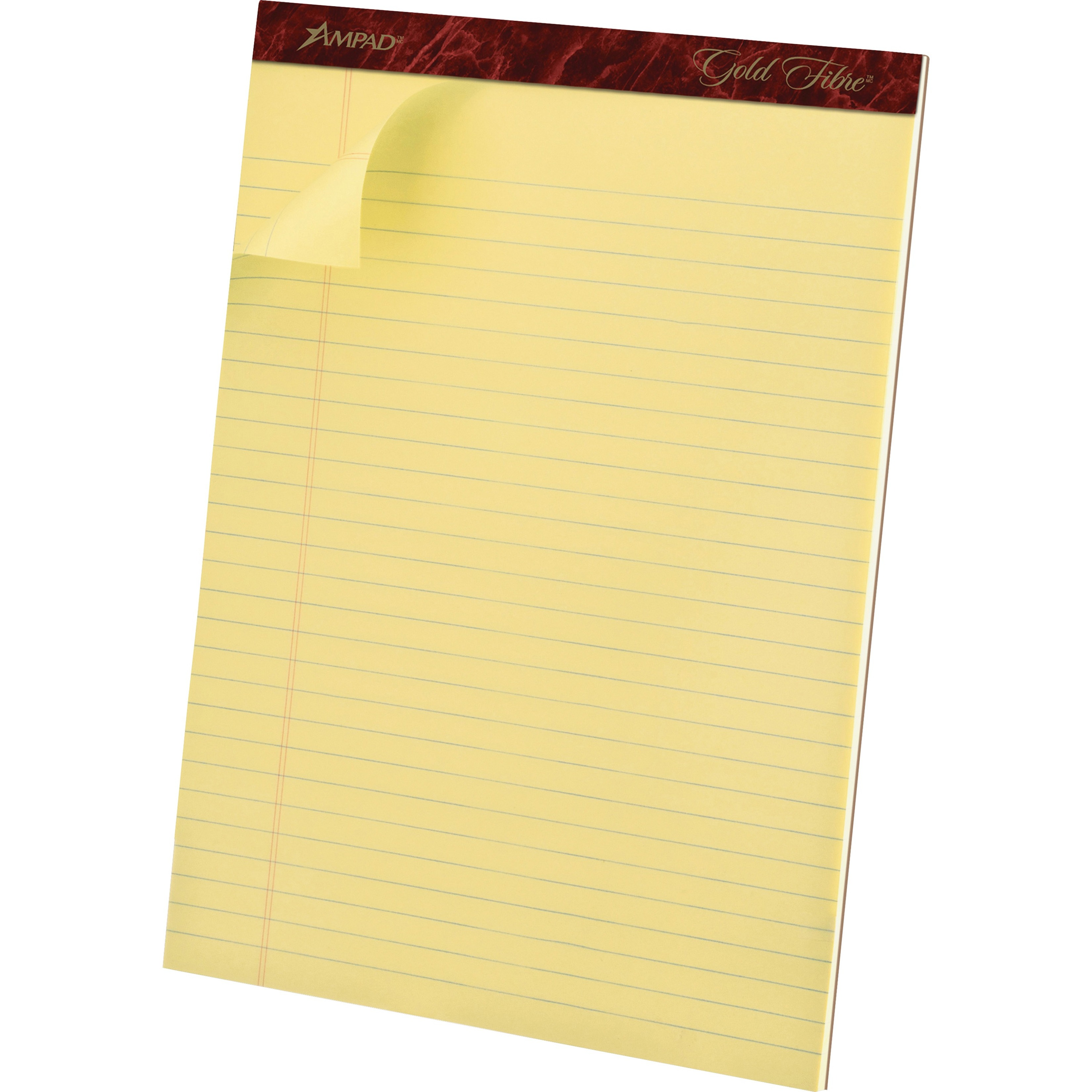 Gold Fibre Ruled Pad, 8 1/2 x 11 3/4, Canary, 50 Sheets, Dozen
