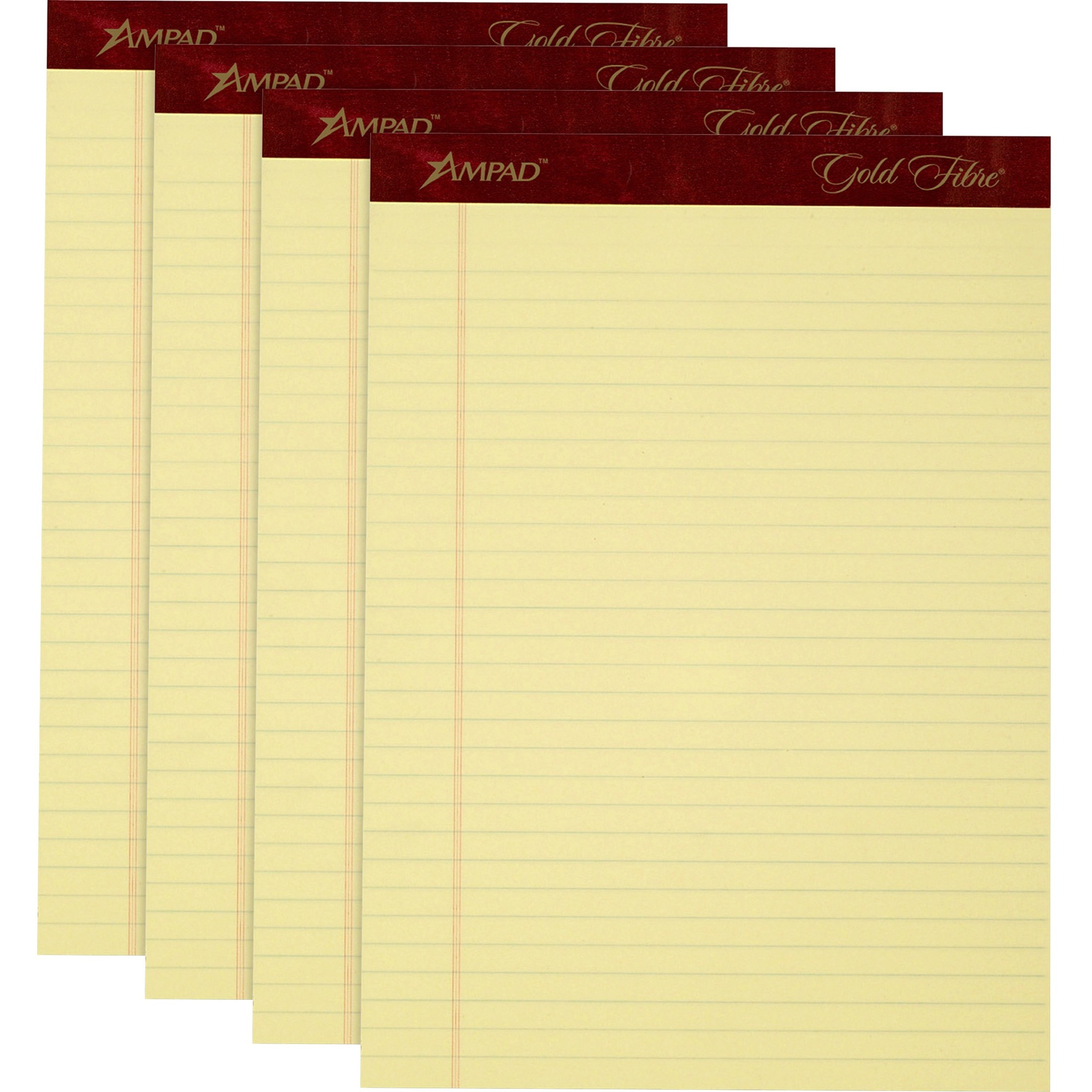 Gold Fibre Writing Pads, Legal/Wide, 8 1/2 x 11 3/4, Canary, 50 Sheets, 4/Pack