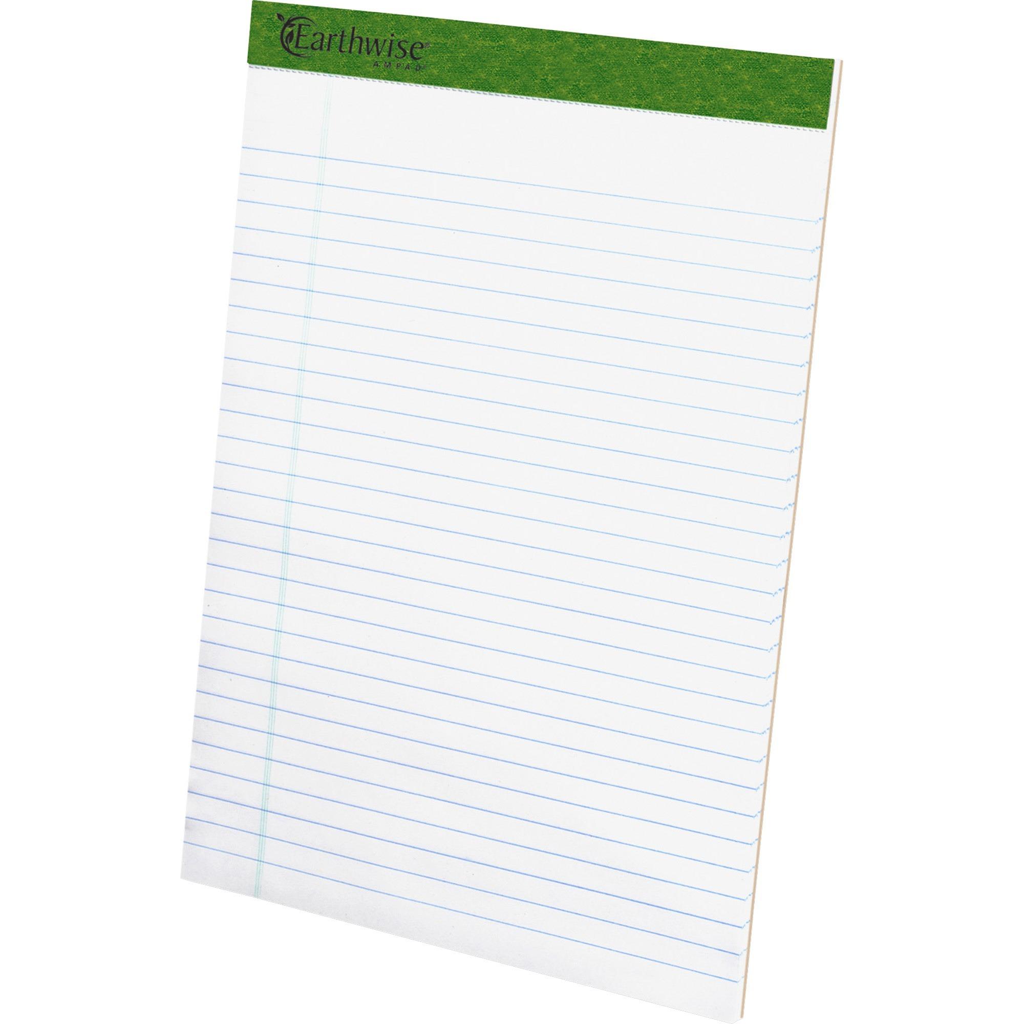 Earthwise Recycled Writing Pad, 8 1/2 x 11 3/4, White, Dozen
