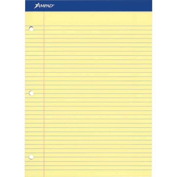 Double Sheets Pad, Legal/Wide, 8 1/2 x 11 3/4, Canary, 100 Sheets