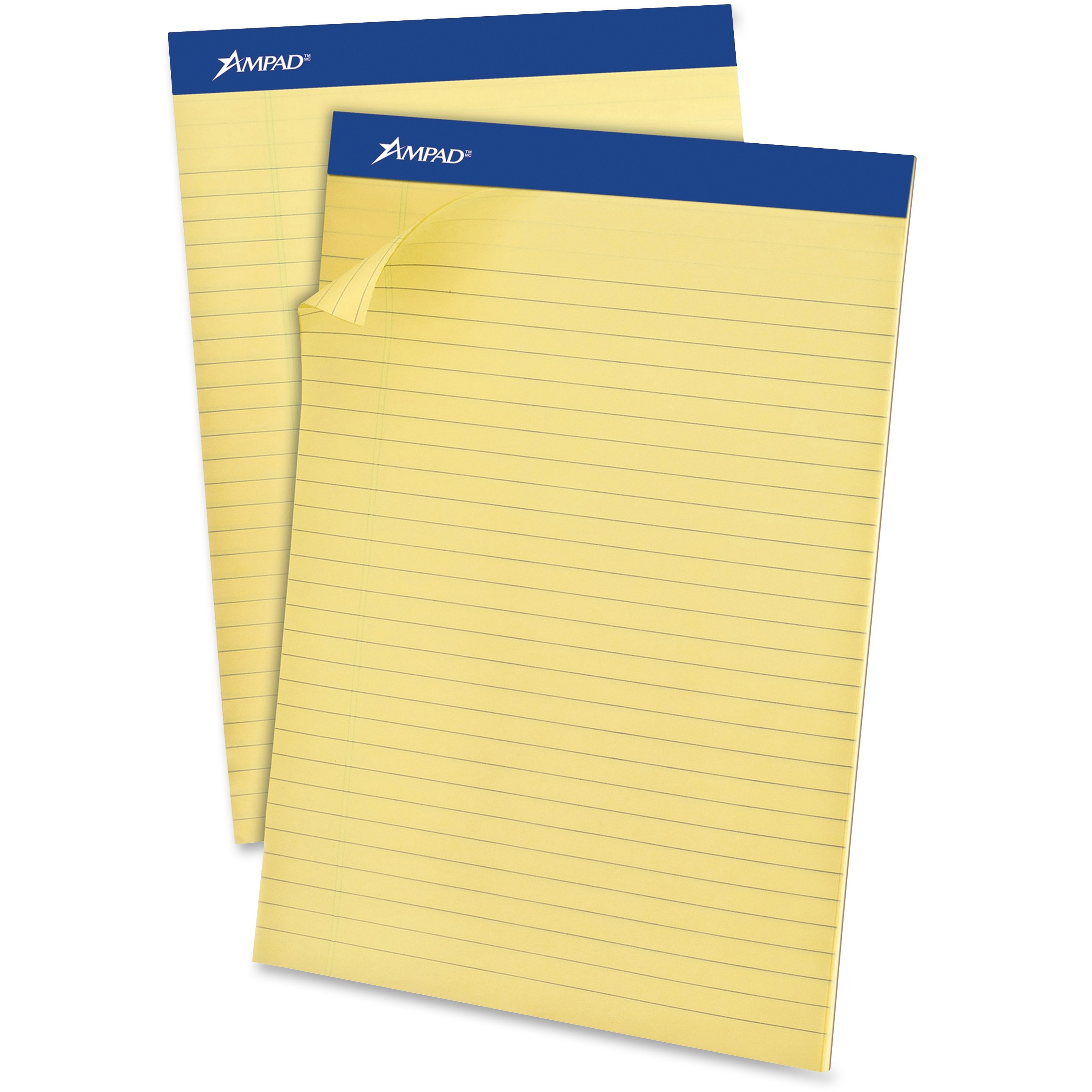 Recycled Writing Pads, 8 1/2 x 11 3/4, Canary, 50 Sheets, Dozen