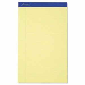 Recycled Writing Pads, 8 1/2 x 14, Canary, 50 Sheets, Dozen