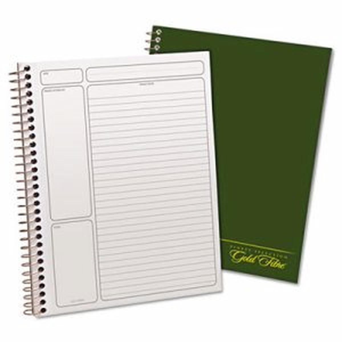 Gold Fibre Wirebound Writing Pad w/Cover, 9 1/4 x 7 1/4, White, Green Cover