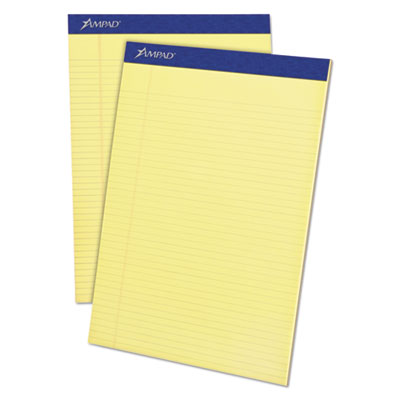 Mead Legal Ruled Pad, 8 1/2 x 11, Canary, 50 Sheets, 4 Pads/Pack