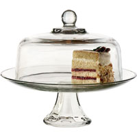 CAKE DOME SET GLASS LID/BTTM