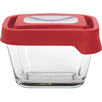 True Seal 91847 Rectangular? Food Storage Container, 1-7/8 Cup, Glass, Clear