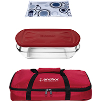Anchor 91087 Tote Set With Embrace Lid, 3 qt, Red
