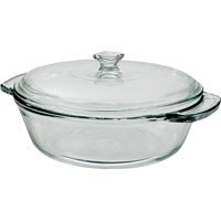 Anchor Oven Basics Medium Casserole Dish With Cover, 2 qt Capacity 11-3/4 in W x 10.44 in L x 11-3/4 in H, Glass
