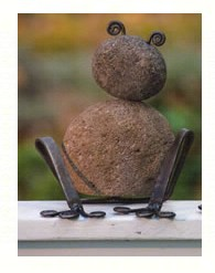 Riverstone/Metal Sitting Frogs Medium