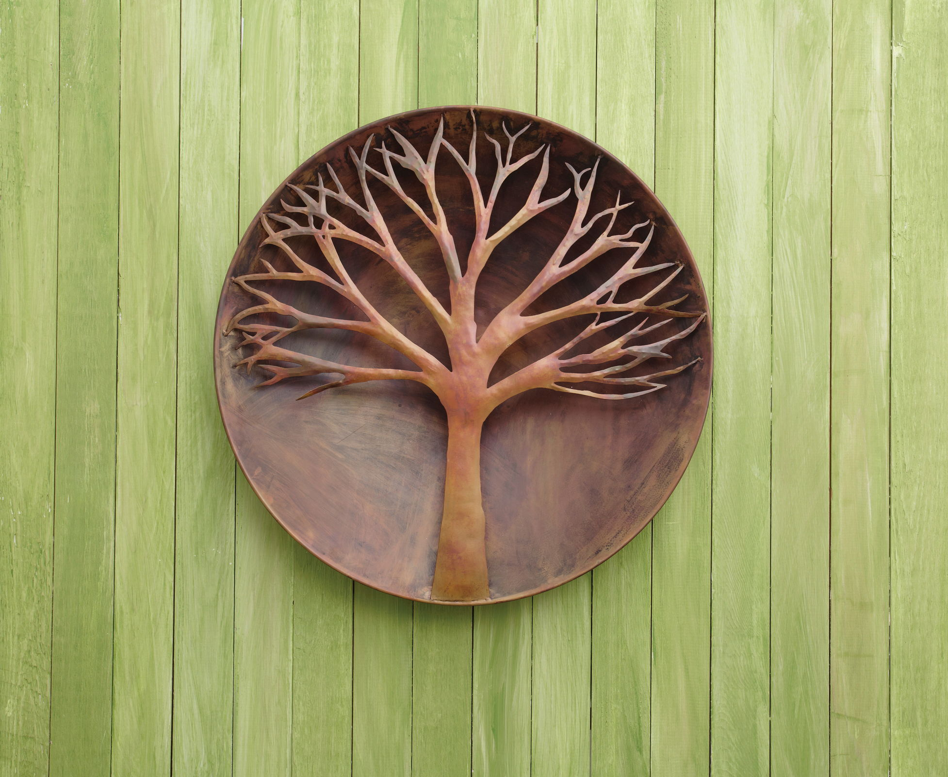 Raised Tree Flamed Wall Disc 24 inch