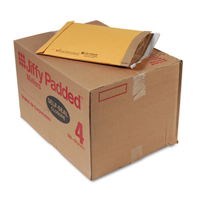 Jiffy Padded Self Seal Mailer, #4, 9 1/2 x 14 1/2, Natural Kraft, 100/Carton