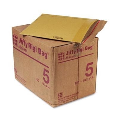 Jiffy Rigi Bag Mailer, #5, 10 1/2 x 14, Natural Kraft, 150/Carton