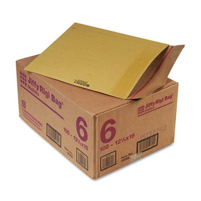 Jiffy Rigi Bag Mailer, #6, 12 1/2 x 15, Natural Kraft, 100/Carton
