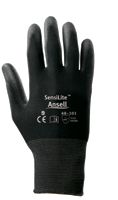 Ansell Black Size 9 SensiLite+ Coated Work Gloves With Seamless Back, Nylon Lining And Polyurethane Coated Palm (144 Pair Per Ca