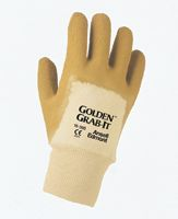 Ansell Size 10 Golden Grab-It II+ Premium Rubber Coated Gloves With Crinkle Finish And Safety Cuff