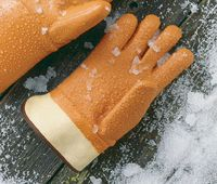 Ansell Size 10 Orange Winter Monkey Grip+ Jersey Lined Cold Weather Gloves With Wing Thumb, Safety Cuffs, Vinyl Coating And Foam