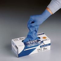 "Ansell Large Blue 9 1/2"" TNT+ 5 Mil Nitrile Powder Free Disposable Gloves With Textured Fingers (100 Each Per Box)"