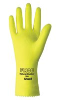 "Ansell Size 9 FL100 Lemon Yellow Unsupported 17 Mil Natural Latex Cotton Flock-Lined Glove With Pattern Grip And 12"" Pinked Cuff"