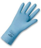 "Ansell Size 9 FL100 Sky Blue Unsupported 17 Mil Natural Latex Cotton Flock-Lined Glove With Pattern Grip And 12"" Pinked Cuff"
