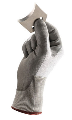WEB ONLY SALE PRICE Ansell Size 8 Gray HyFlex� 13 Gauge Light Duty Cut Resistant Gloves With Knit Wrist, HPPE Lined, And Polyure