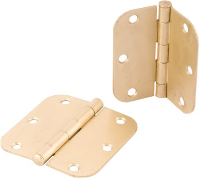 ANVIL MARK� BUTT HINGES, 1/4 IN. RADIUS CORNER, 3-1/2 IN., SATIN BRASS, 2 PER PACK