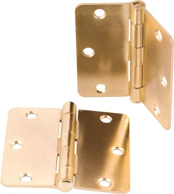 ANVIL MARK� BUTT HINGES, 5/8 IN. RADIUS CORNER, 3-1/2 IN., BRIGHT BRASS, 2 PER PACK