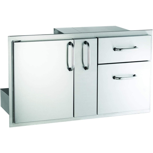 18 x 36 Door with Double Drawer & Storage Platter, Tubular stainless steel handles, double wall construction