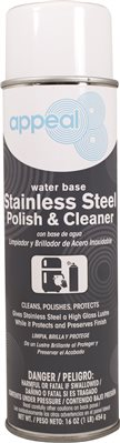 APPEAL� WATER-BASED STAINLESS STEEL POLISH AND CLEANER, MILKY WHITE, LEMON SCENT, 20 OZ.