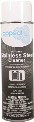 APPEAL� OIL-BASED STAINLESS STEEL POLISH AND CLEANER, CLEAR, LEMON SCENT, 20 OZ.