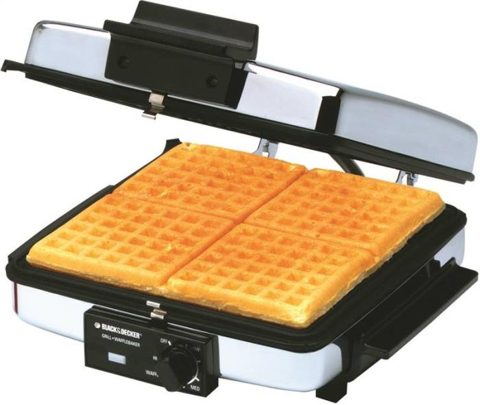 George Foreman G48TD Grill and Waffle Maker, 900 W 13-1/8 in W x 6-1/4 in D x 13-3/4 in H, Silver/Black