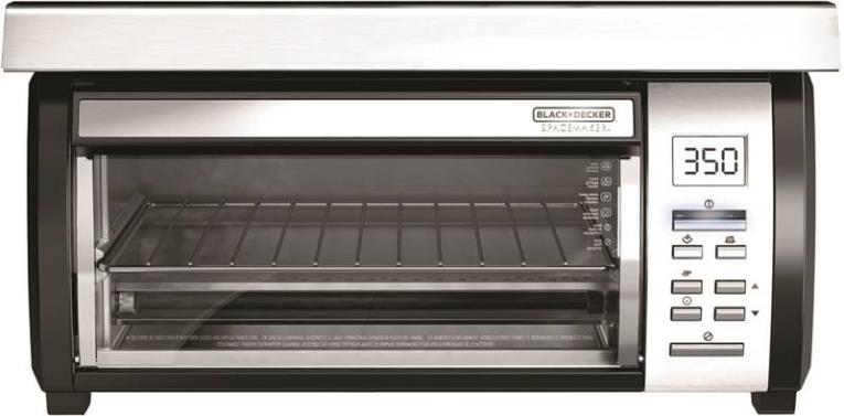 Black & Decker Spacemaker TROS1000D Oven Toaster, 4 Slice or 9 in Pizza, 1200 W, 110 V, 450 deg, Brushed