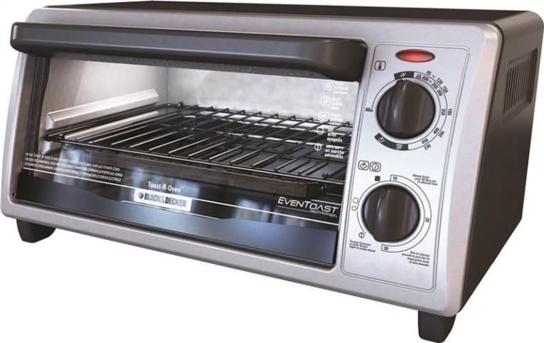 Black & Decker TO1322SBD Conventional Toaster Oven, 4 Slice, 1150 W, 120 V, 450 deg F