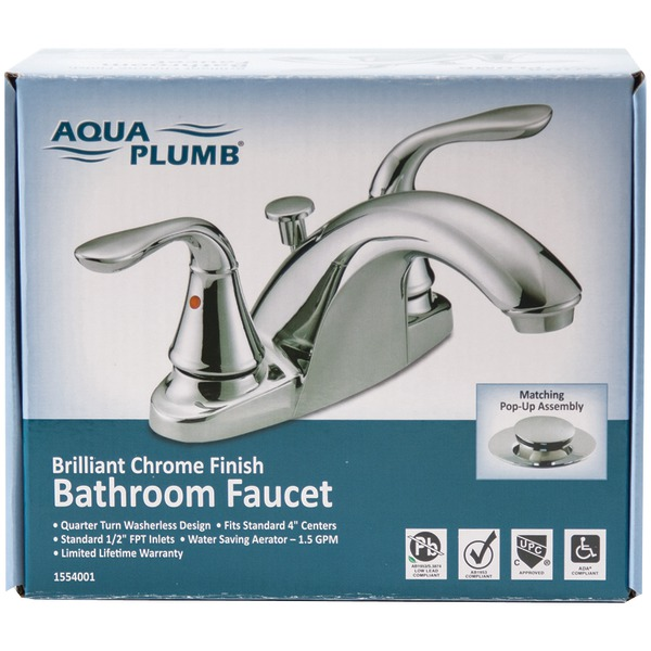 AquaPlumb 1554001 Premium Chrome-Plated 2-Handle Bathroom Faucet