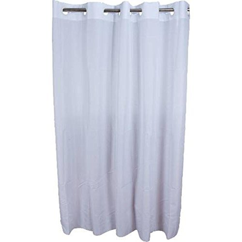 HOOKLESS SHOWER CURTAIN WITH PLAIN WEAVE FABRIC  WHITE