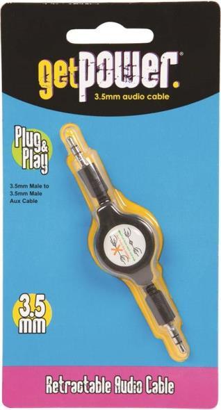 Aries GP-RETR-AUX-BLK Get Power Audio Cables, 3.5mm - Retractable, Black