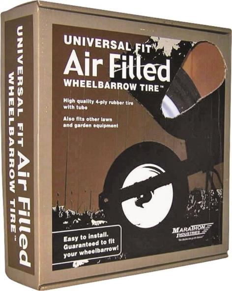 Arnold 20260 Air Filled Center Hubbed Universal Wheelbarrow Tire, For Use With Wheelbarrows
