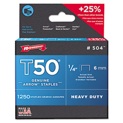 "T50 Heavy Duty Staples, 1/4"" Leg, 1250/Pack"