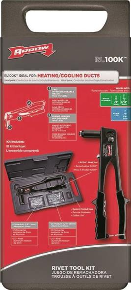 Arrow RL100K Rivet Tool Kit, 1/8 in, 3/16 in, Spring Loaded Hi-Viz Non-Slip Grip, Vinyl Handle
