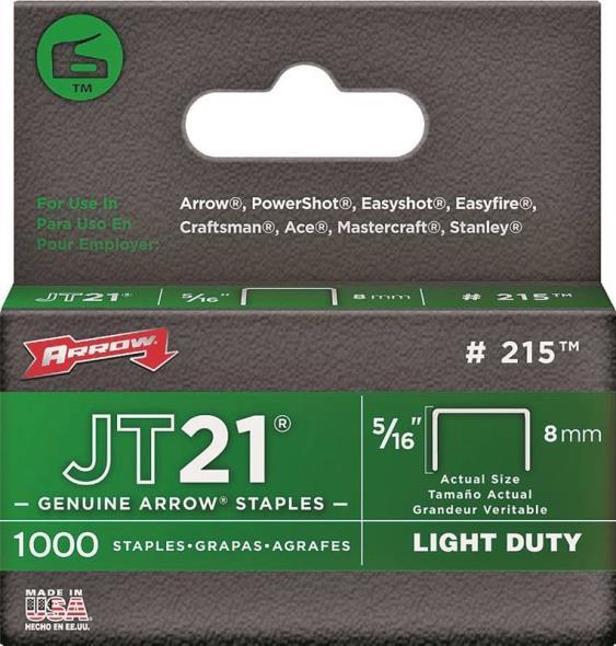 JT21 215 Flat Light Duty Crown Staple, 7/16 in, 5/16 in Leg, 0.03 ga