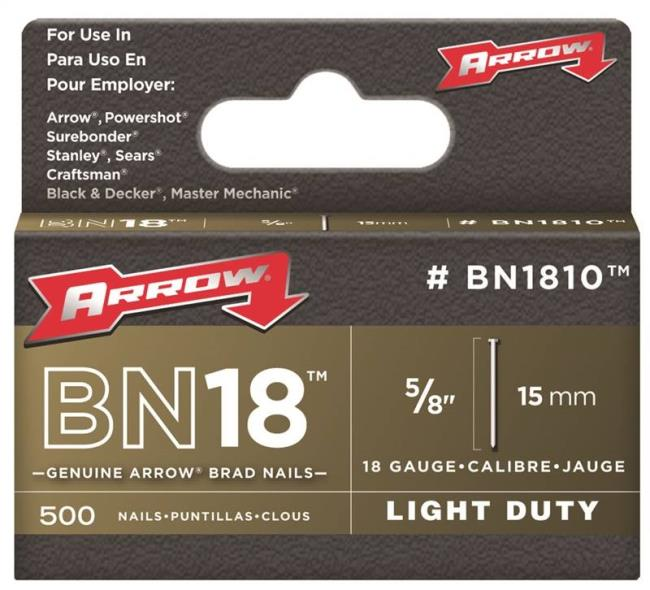 Arrow BN1810CS Brad Nail, 5/8 in, Steel, Natural